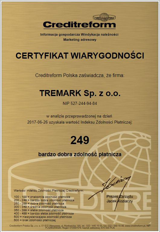 certyfikat wiarygodności